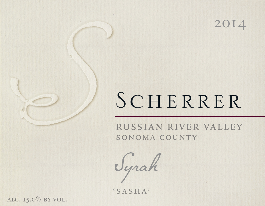 2014 'Sasha' Russian River Valley Syrah. Sonoma County. Scherrer Winery. Alcohol 15.0% by volume